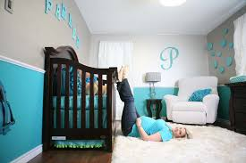 Inspiring Modern Two Tone Blue And Gray Baby Boy Room Ideas With Dark Baby  Crib Also White Fur Rug As Well As White Accent Chairs Designs