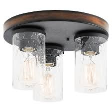 Kitchen Semi Flush Lighting Kichler Lighting Barrington 115 In W Distressed Black And Wood
