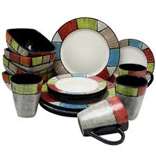 elama country cottage16 piece multi colored dinnerware set