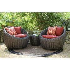 corona 3 piece all weather wicker patio deep seating set with sunbrella red cushions