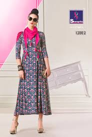 Designer Kurtis Collection Shangrila Trends Crayons Rayon Cotton Designer Kurtis