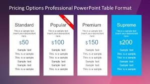 Pricing Table Templates Professional Pricing Options Table For Powerpoint