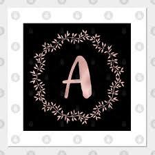 rose gold monogram a pink letter a on