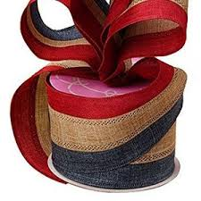 Red White and Blue Stripe Burlap Ribbon 5.5 x 10 ft   Etsy