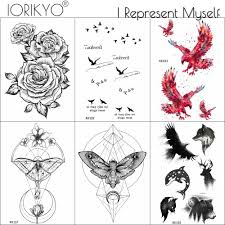 Iorikyo Geometric Moth Temporary Tattoo Small Birds Sticker Men Chest Eagle Fake Tatoos Black Women Chains Flower Tattoo Animals