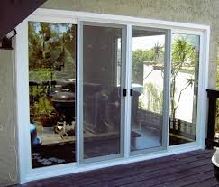 4 panels sliding glass patio doors and windows with white frame