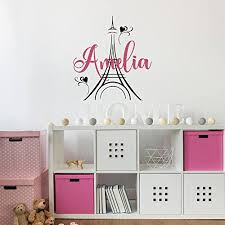 personalized girl s name paris theme decor eiffel tower vinyl wall decals custom your name girl nursery decor 18 x 20