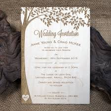 Wedding Invitations With Tree Designs Wooden Wedding Invitations Initial Tree
