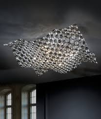 clear smoked crystal semi flush light