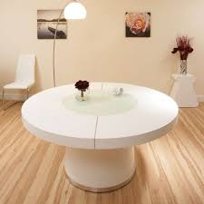 large round white gloss dining table glass lazy susan led lighting 1 6