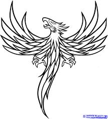 как нарисовать феникса в стиле тату поэтапно
