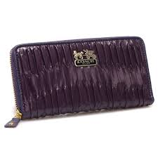 Coach Accordion Zip In Gathered Twist Large Purple Wallets CCJ