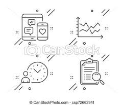 Diagram Chart Social Media And Time Management Icons Set Search Analysis Sign Vector