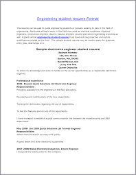 Cover Letter Students Resume Format Student Resume Format For