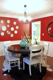 Inspiring Bright Modern Red Dining Room Design With Unique Black ...