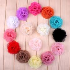 details about 120pcs tulle shabby chiffon mesh flower for baby headbands hair accessories diy