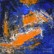 color painting blue orange abstract conflict by chakramoon by belinda capol
