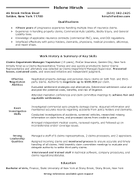 Claims Department Manager Supervisor Resume Claims Department