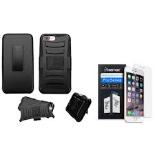 insten hard dual layer hybrid case with holster belt clip kickstand for apple iphone 8 plus