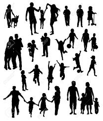 Attività Silhouette Genitori E Bambini Che Giocano Disegno Vettoriale Arte