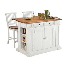 Home Styles Large Kitchen Island Set With 2 Stationary Stools   Antique  White U0026 Oak | Hayneedle Nice Design