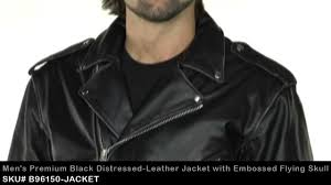 b96150 xelement premium mens black leather embossed flying skull jacket at leatherup com