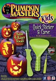 pumpkin carving tools for kids. easier patterns, tools for tinier hands, and stickers to do it up in style: pumpkin masters kids quick sticker \u0026 carve is just what the jack-o\u0027-lantern carving