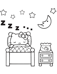 Small Picture Hello Kitty Sleeping In Bedroom Coloring Page H M Coloring Pages