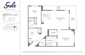 Gale Fort Lauderdale Floor Plan 2 Bedroom + Den + 2.5 Bathroom 1602 Sq. Ft