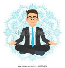 meditation businessman office. vector illustration of businessman sitting in lotus pose meditating office worker on dreamy mandala background meditation