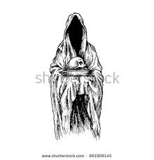 realistic ghost drawing. engraved of scary ghost in gown with hood hold skull on plate realistic drawing