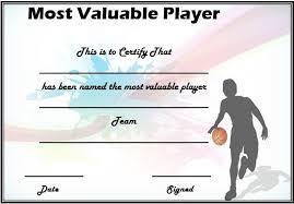 Basketball Mvp Certificate Template Certificate Templates