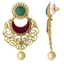 spargz antique wedding wear gold plated ad stone ruby with pearl filigree chandelier earrings for women aier 1057 best s in india rediff