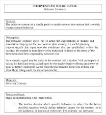 Sample Behavior Contract Forms 7 Free Documents In Word Printable ...