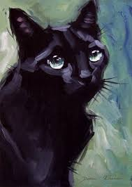 black cat painting original oil 8 x 8 inches by diane irvine armitage