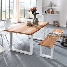 Set Esstisch Mit Bank Aus Akazie Metall In Weiß Oking 2 Teilig