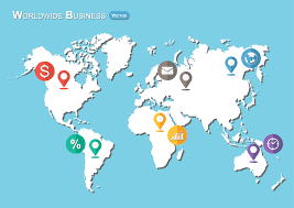 World Map Flat Design World Map With Pointers And Business Icon Flat Design