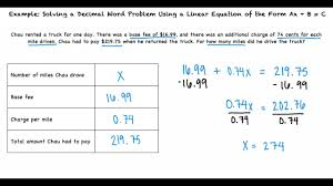 example solving a decimal word problem using a linear equation of