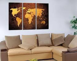 hand painted oil painting world map moden decor wall wood frame 3 panels edges 1831765157