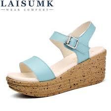 2018 <b>LAISUMK Women</b> Sandals Leather <b>Flat</b> Sandals Low Wedges ...