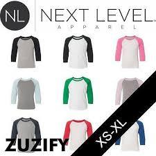 Next Level Youth Raglan Size Chart Next Level Youth Cvc 3 4 Sleeve Raglan Baseball T Shirt M