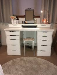 white desk with drawers and mirror. Delighful And Modern Small Makeup Vanity Desk With Side Graded Drawers Featuring Black  French Iron Rotating Mirror And Upper Double Drawer Flanking Center Nook Plus White  D