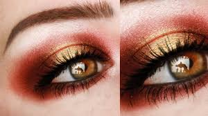 red and gold makeup tutorial