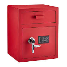 steel digital depository safe with digital keypad red