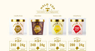 quick nutrition facts are listed with each flavor of halo top ice cream on the