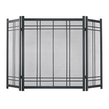pleasant hearth 52 in vintage iron steel 3 panel craftsman fireplace screen