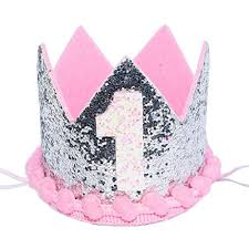 Maticr Sparkled Princess First Birthday Tiara Crown Headband Party