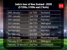 India Cricket Matches List 2019 20 Indias Action Packed