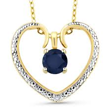 genuine sapphire 18k 2 tone gold plated silver diamond accent heart pendant