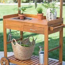 acacia wood garden potting bench sink with storage